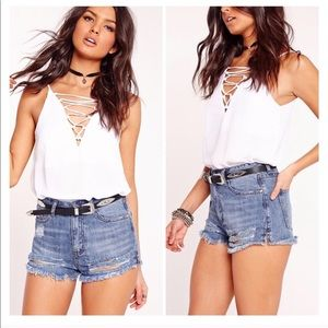 50% OFF | Missguided Distressed Denim Shorts